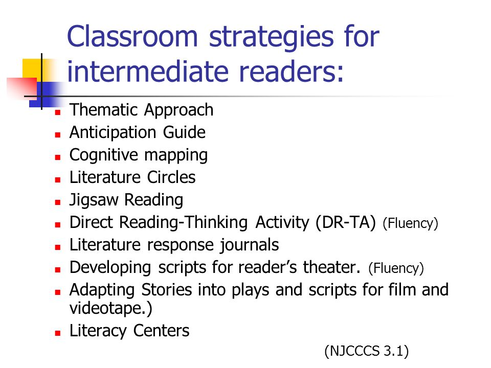 Classroom strategies for intermediate readers: