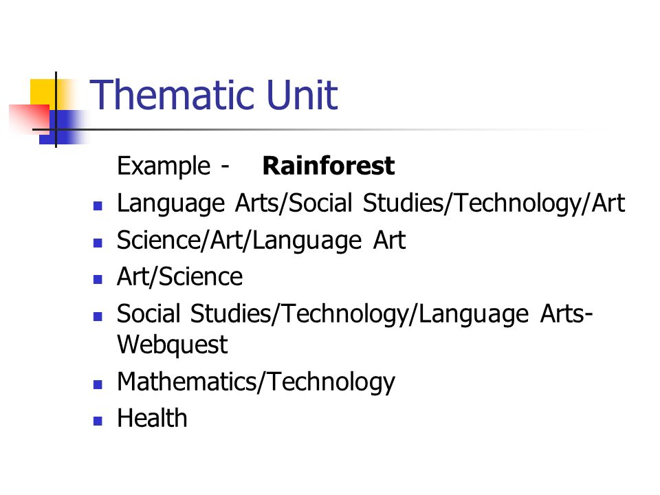 Thematic Unit Example - Rainforest