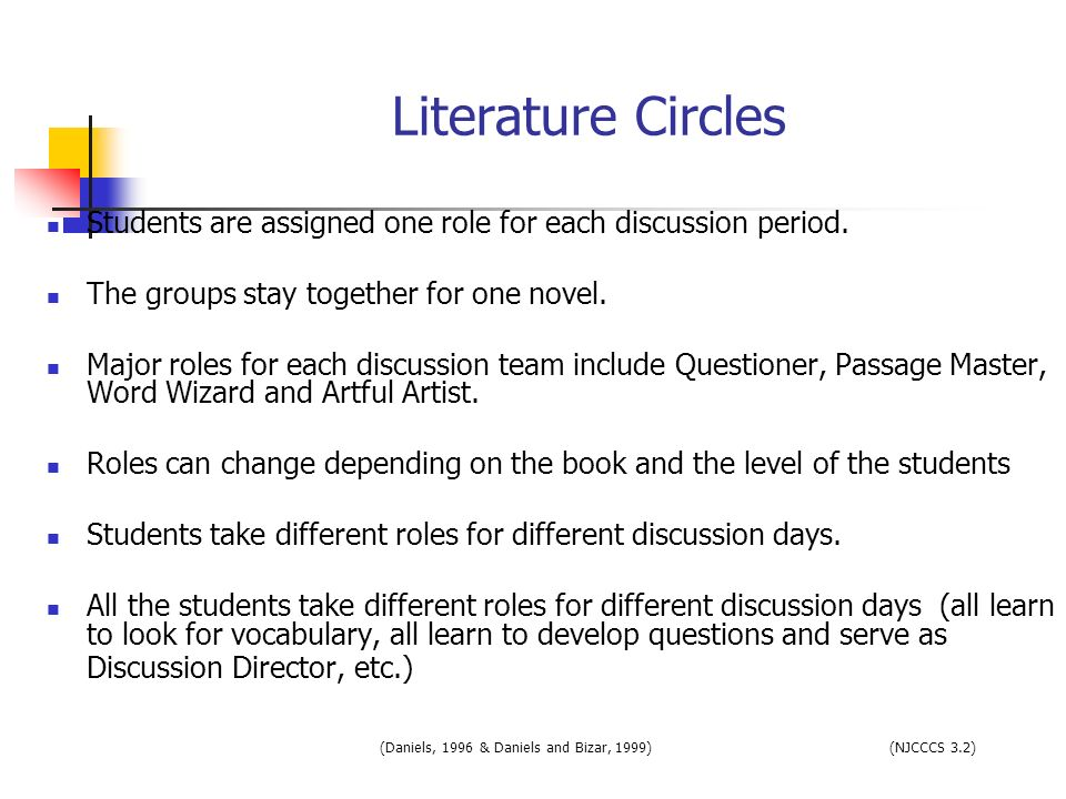 Literature Circles Students are assigned one role for each discussion period. The groups stay together for one novel.