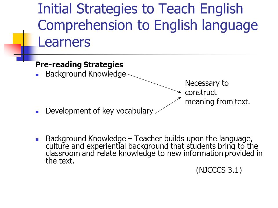 Initial Strategies to Teach English Comprehension to English language Learners
