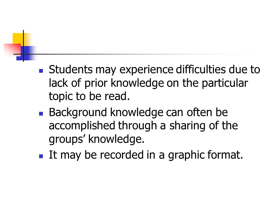 Students may experience difficulties due to lack of prior knowledge on the particular topic to be read.