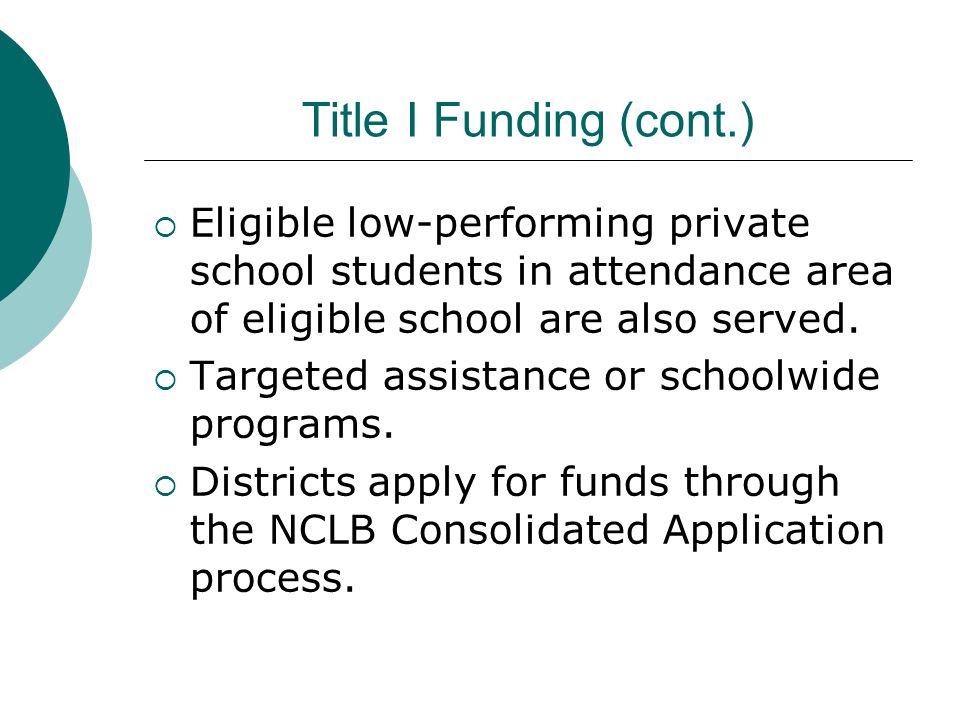 Title I Funding (cont.) Eligible low-performing private school students in attendance area of eligible school are also served.