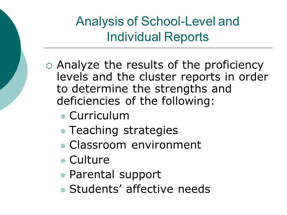 Analysis of School-Level and Individual Reports