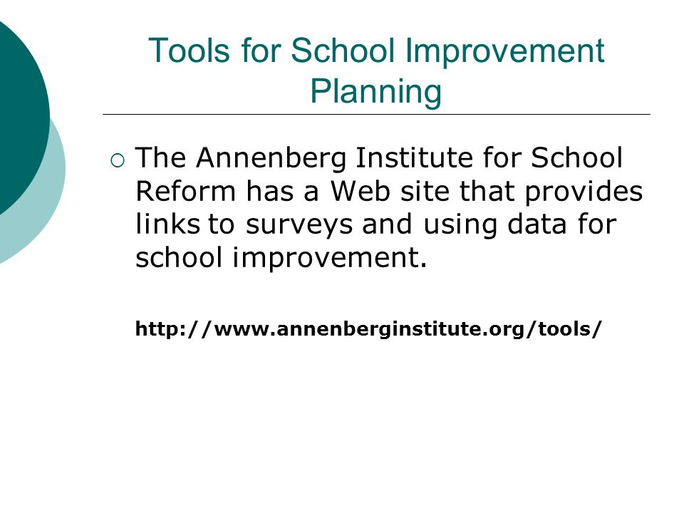 Tools for School Improvement Planning