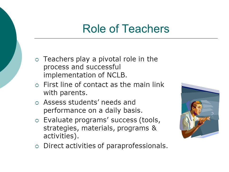 Role of Teachers Teachers play a pivotal role in the process and successful implementation of NCLB.