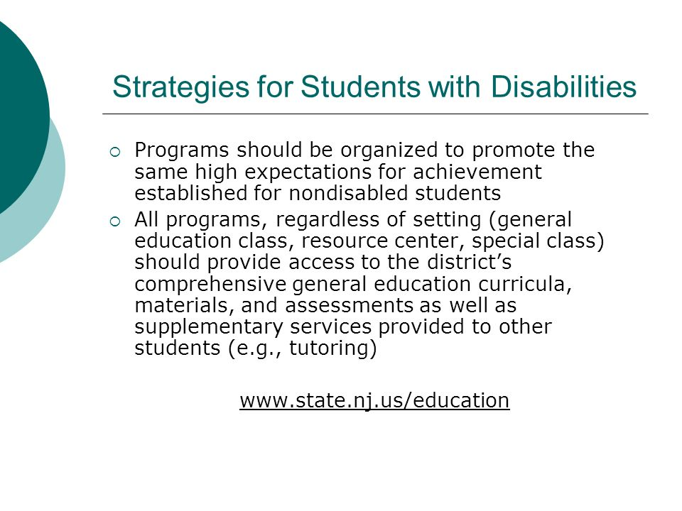 Strategies for Students with Disabilities