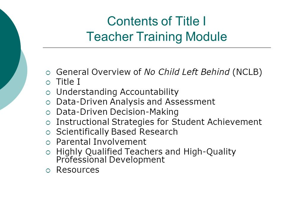 Contents of Title I Teacher Training Module