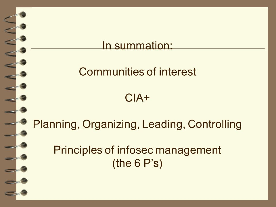 cia core security principles Thus there is a large core of policies and services on which most of the users of  computers should be able  preventing breaches of security—basic principles.