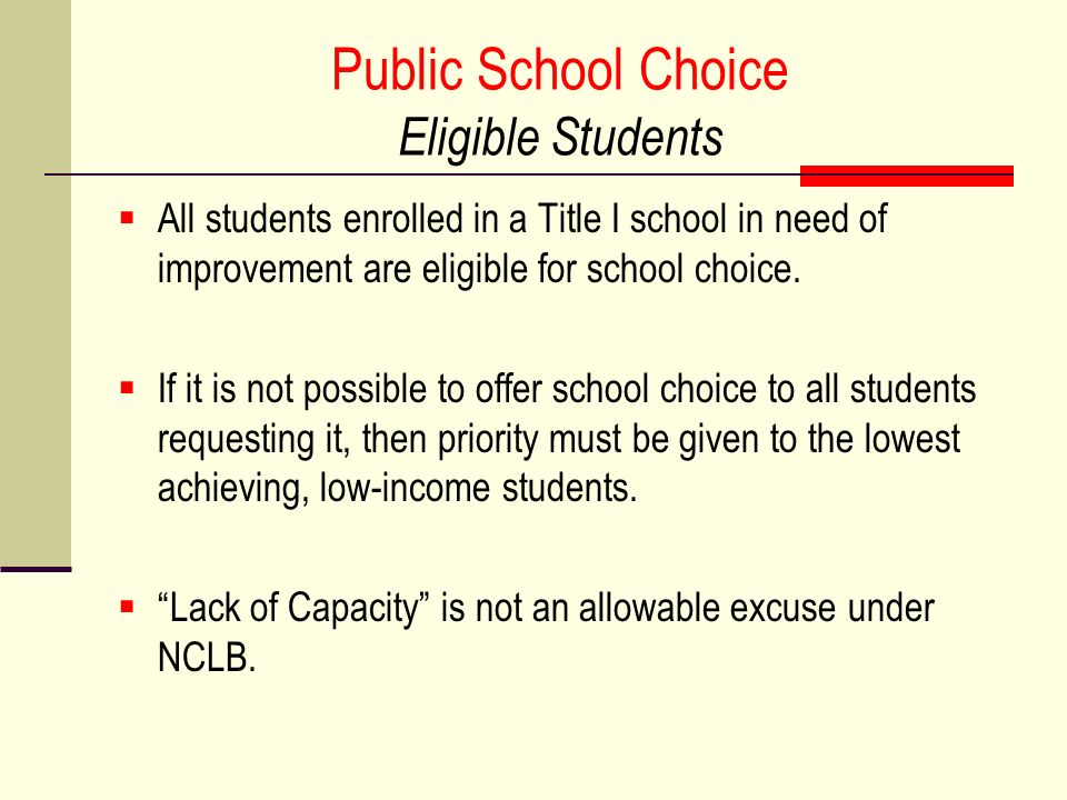 Public School Choice Eligible Students