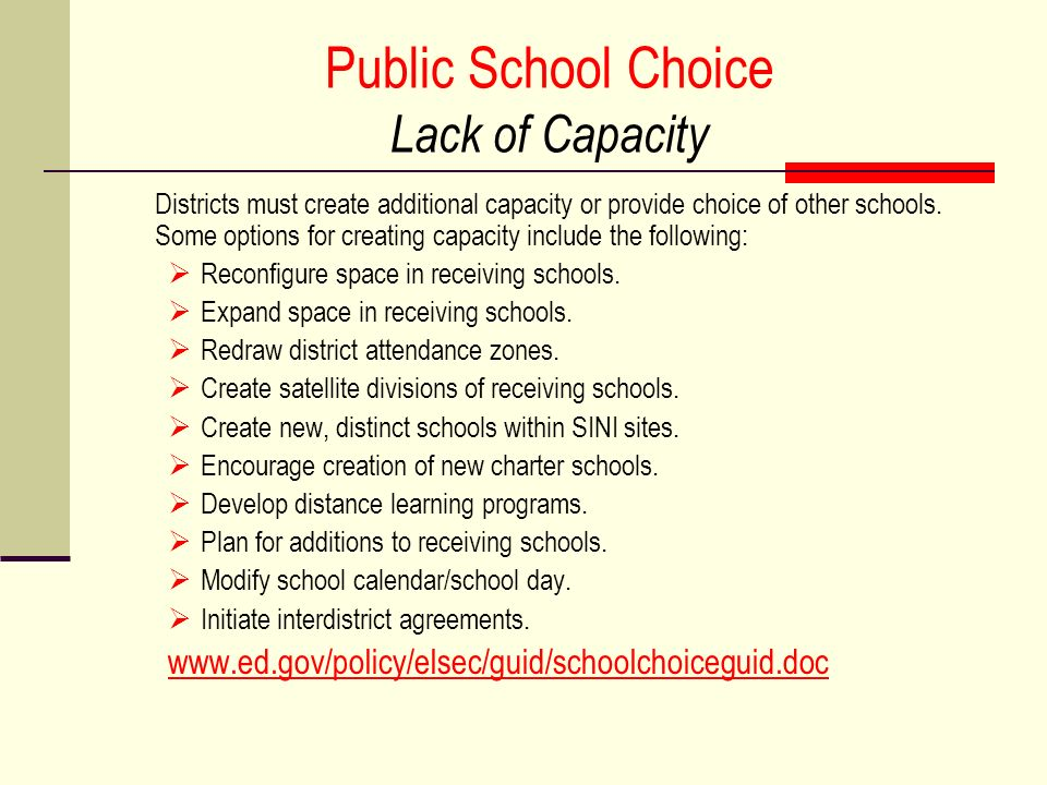Public School Choice Lack of Capacity
