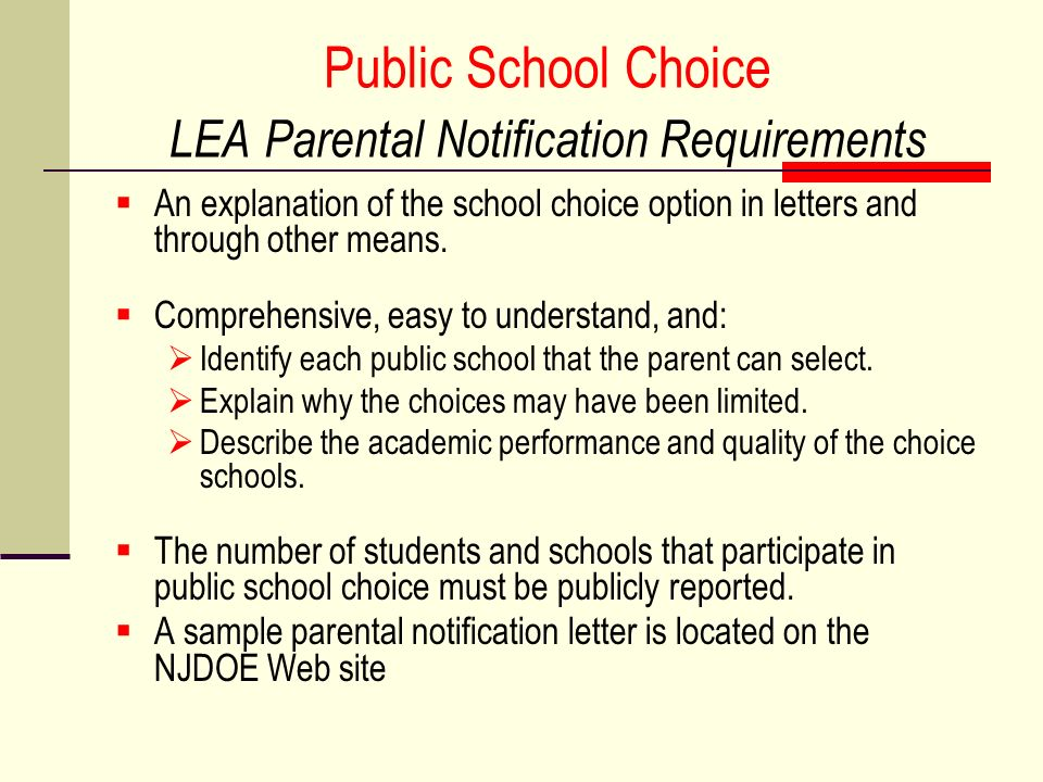 Public School Choice LEA Parental Notification Requirements