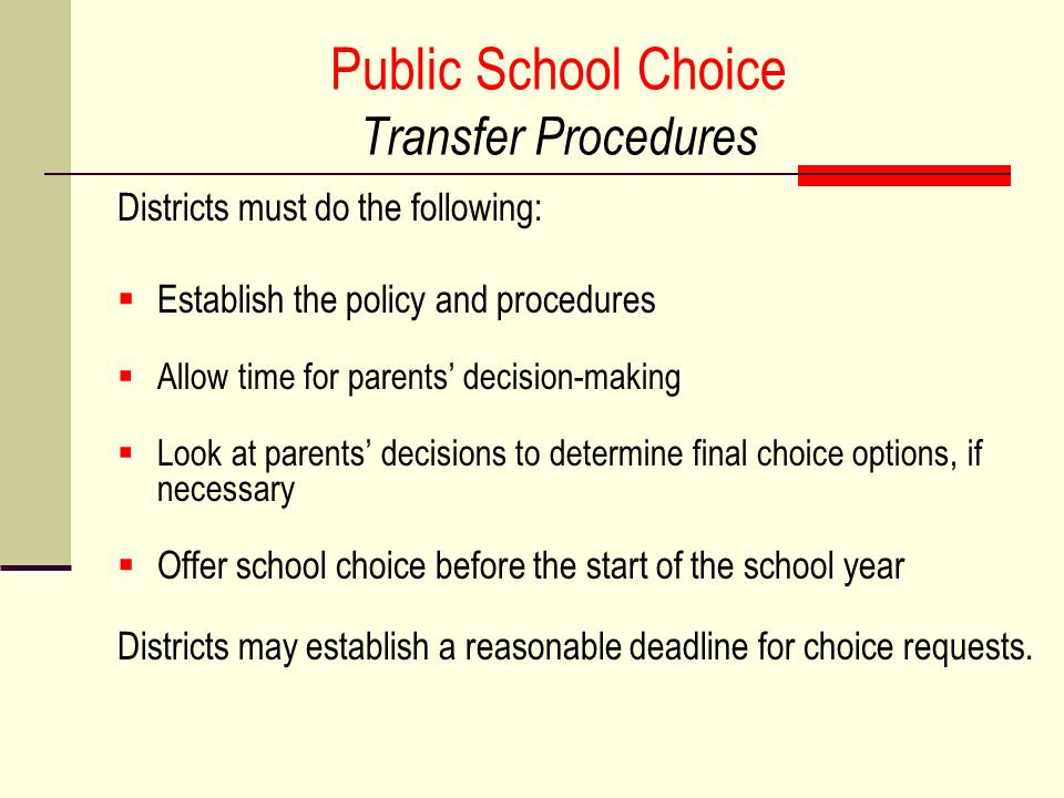 Public School Choice Transfer Procedures