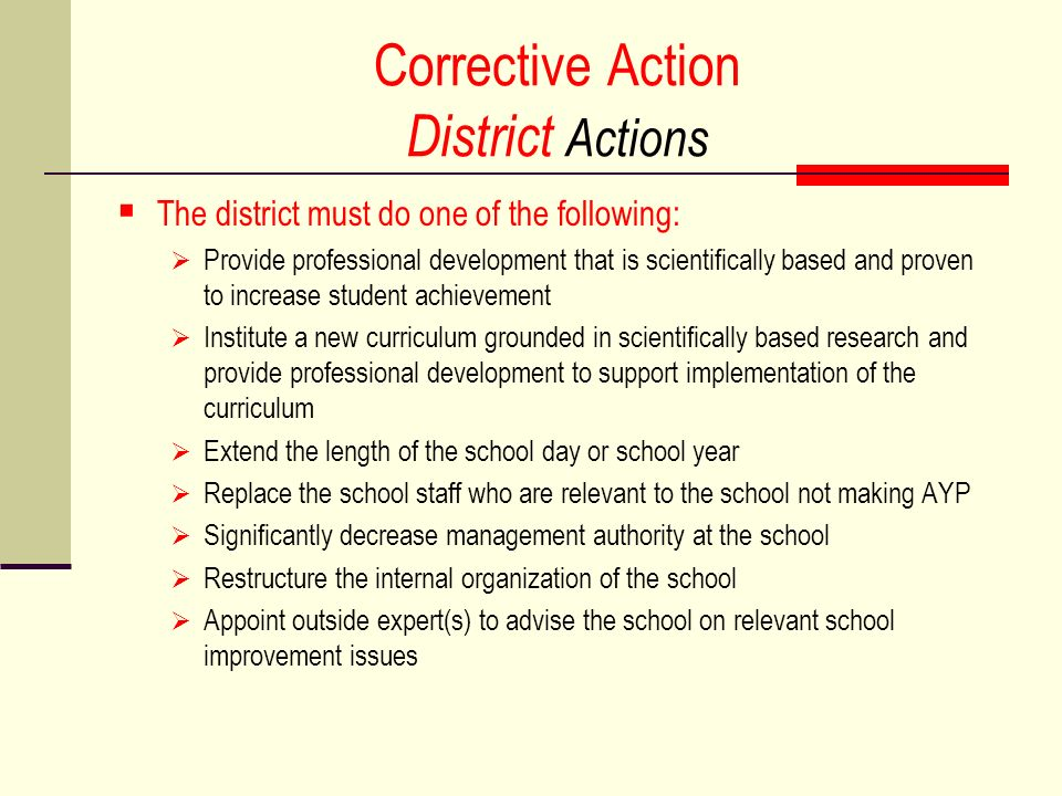 Corrective Action District Actions