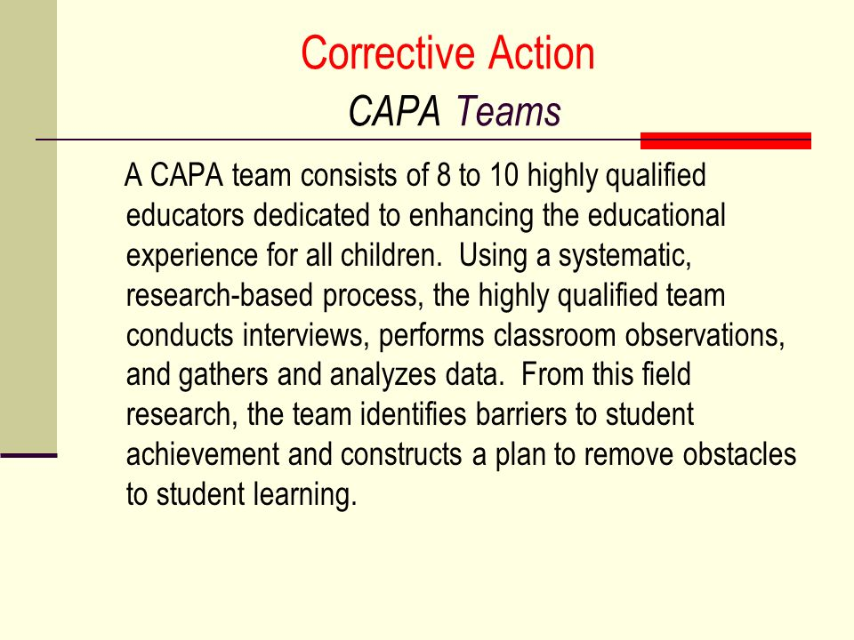 Corrective Action CAPA Teams