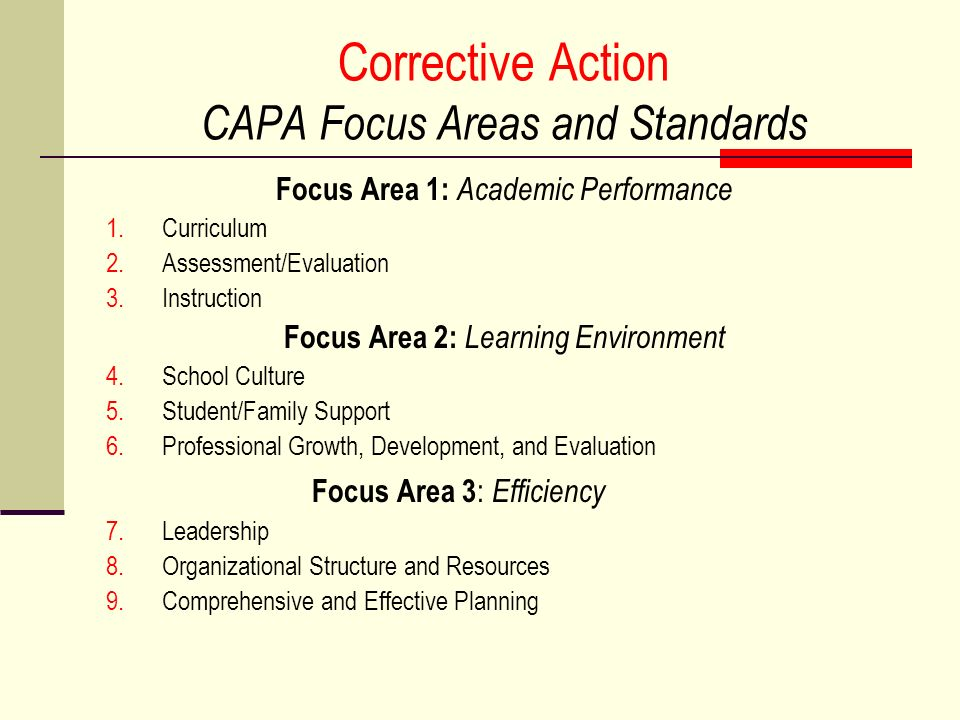 Corrective Action CAPA Focus Areas and Standards