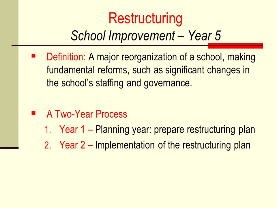 Restructuring School Improvement – Year 5