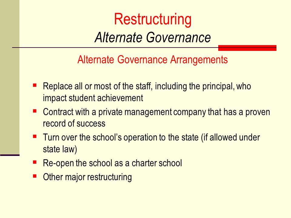 Restructuring Alternate Governance