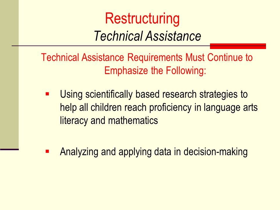 Restructuring Technical Assistance
