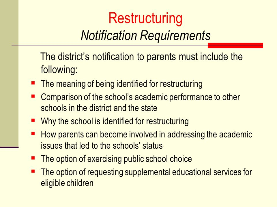 Restructuring Notification Requirements