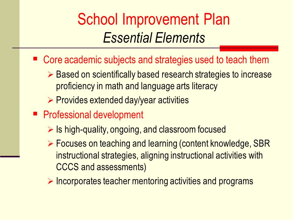 School Improvement Plan Essential Elements