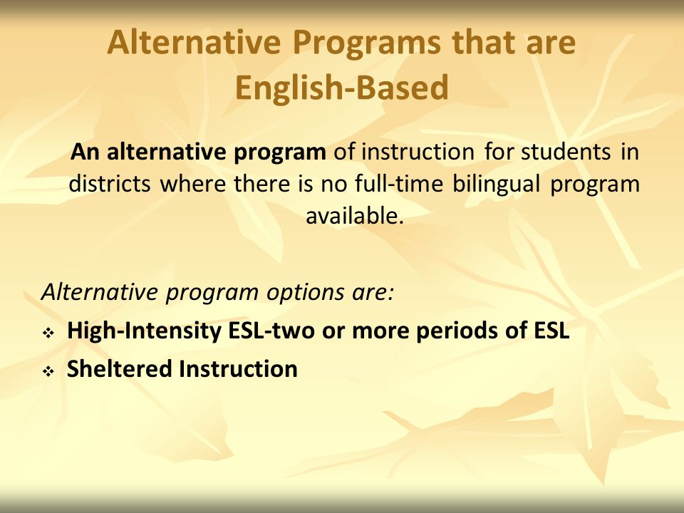 Alternative Programs that are English-Based