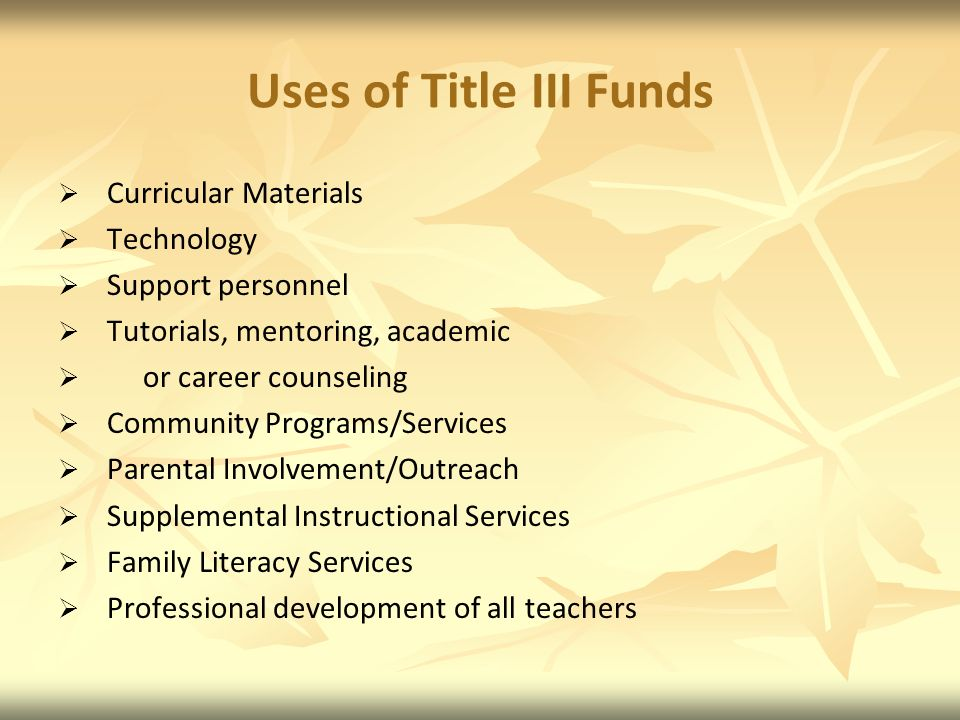Uses of Title III Funds Curricular Materials Technology