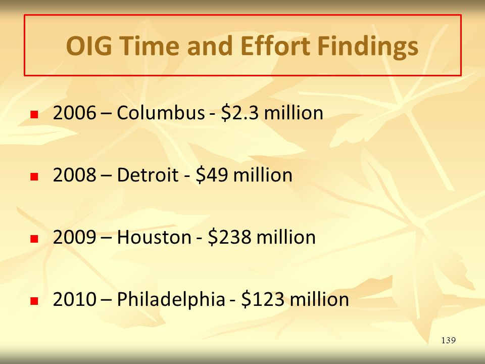 OIG Time and Effort Findings