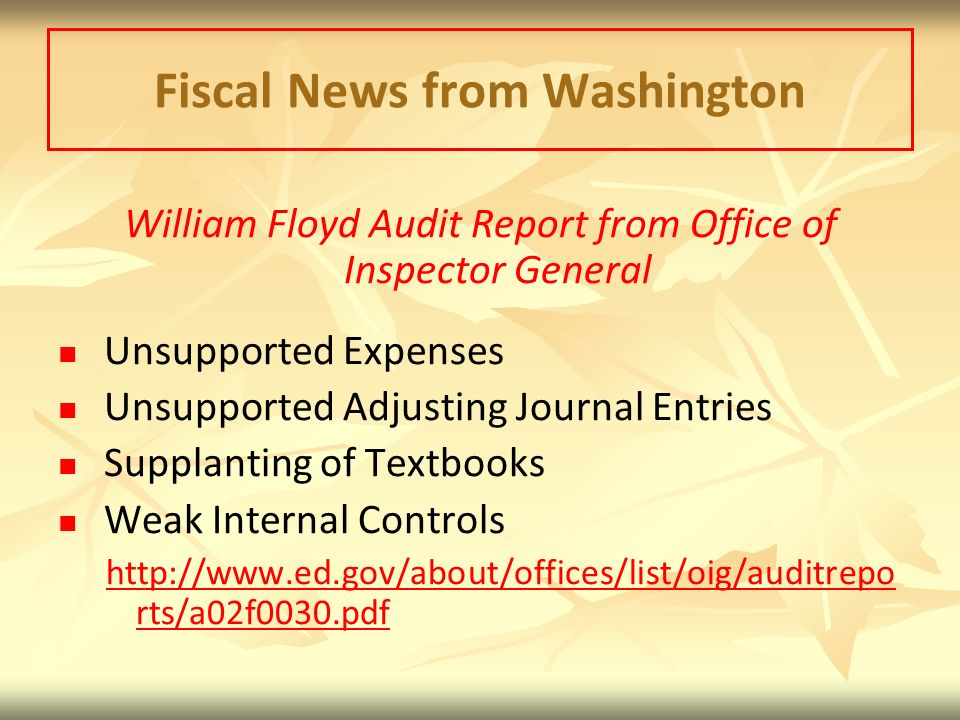 Fiscal News from Washington