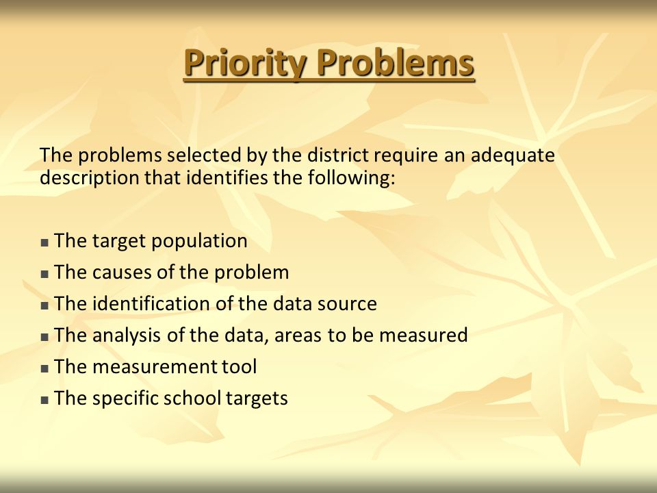 Priority Problems The problems selected by the district require an adequate description that identifies the following:
