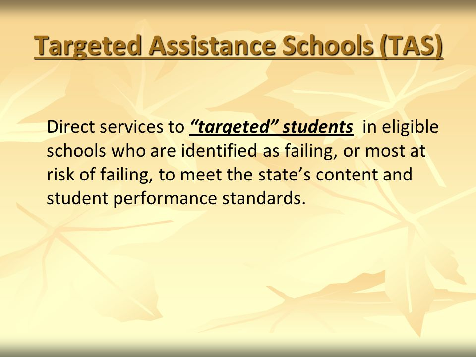 Targeted Assistance Schools (TAS)