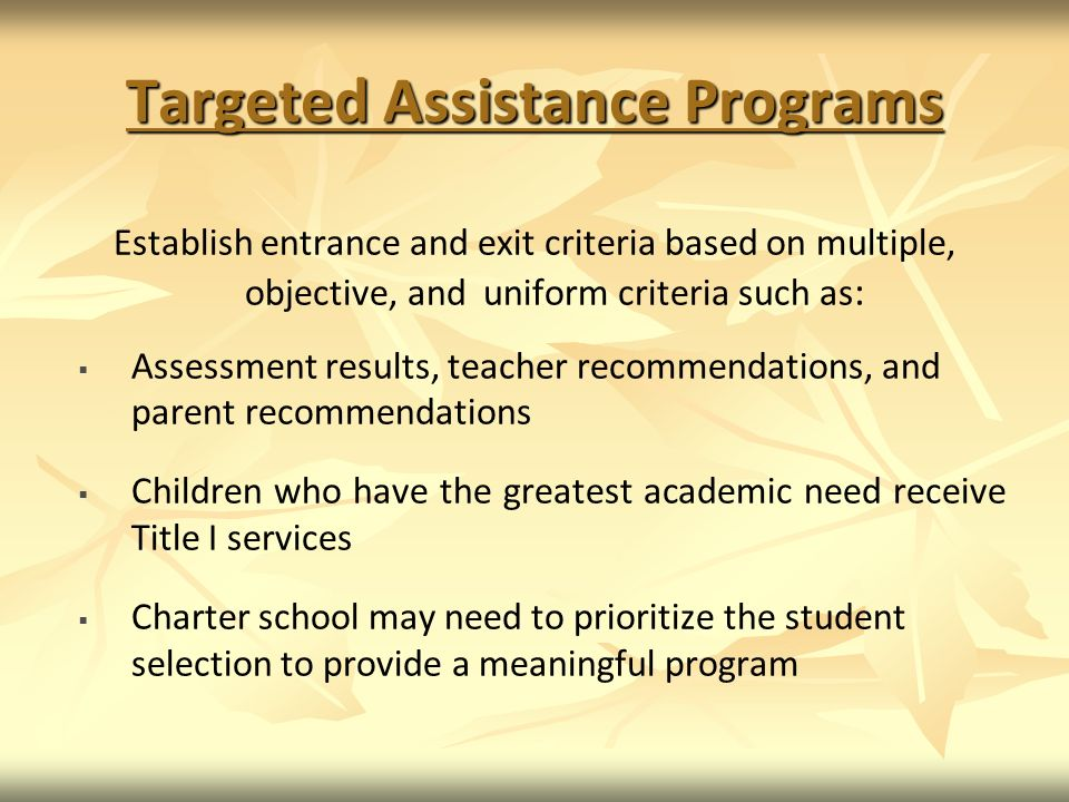 Targeted Assistance Programs