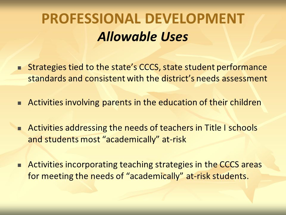 PROFESSIONAL DEVELOPMENT Allowable Uses