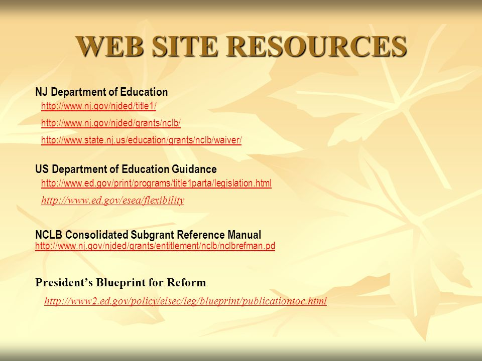 WEB SITE RESOURCES NJ Department of Education