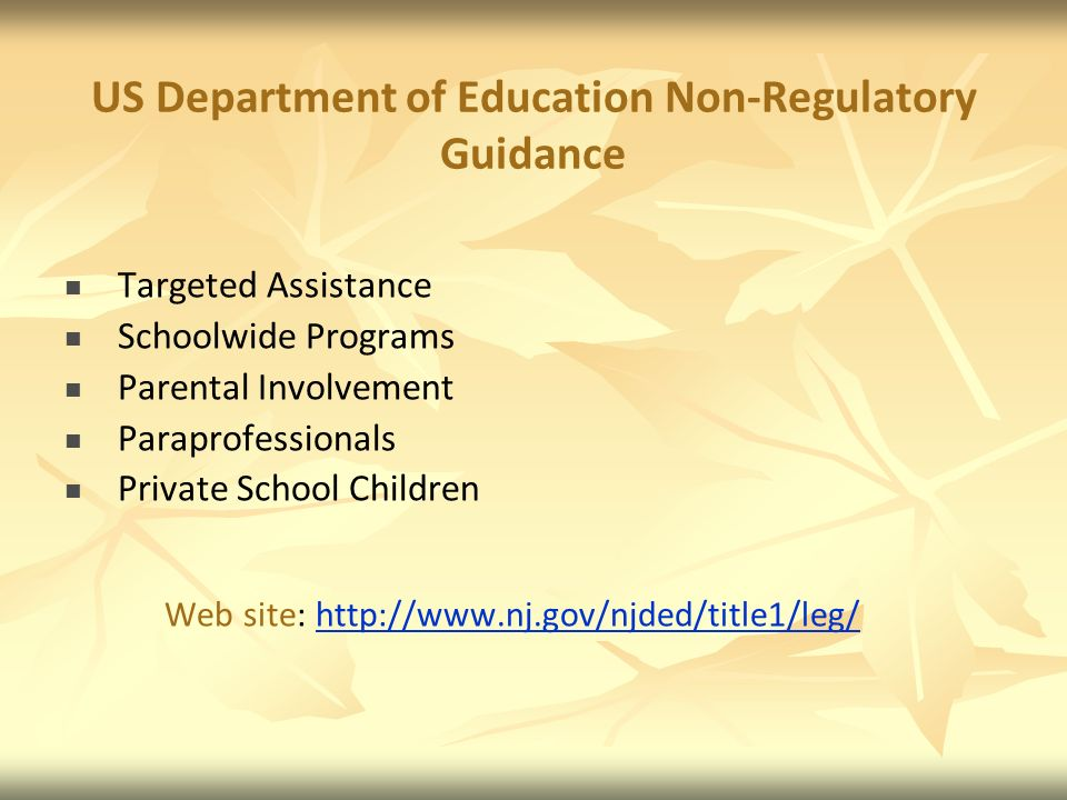 US Department of Education Non-Regulatory Guidance