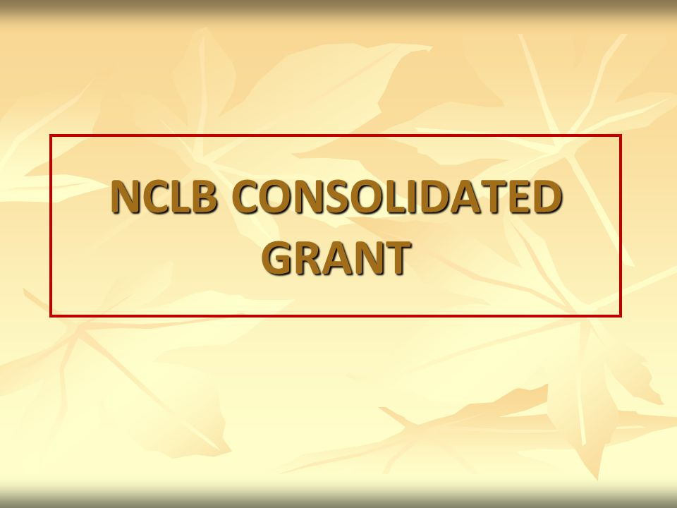 NCLB CONSOLIDATED GRANT