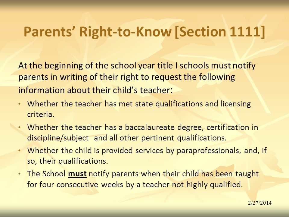 Parents' Right-to-Know [Section 1111]