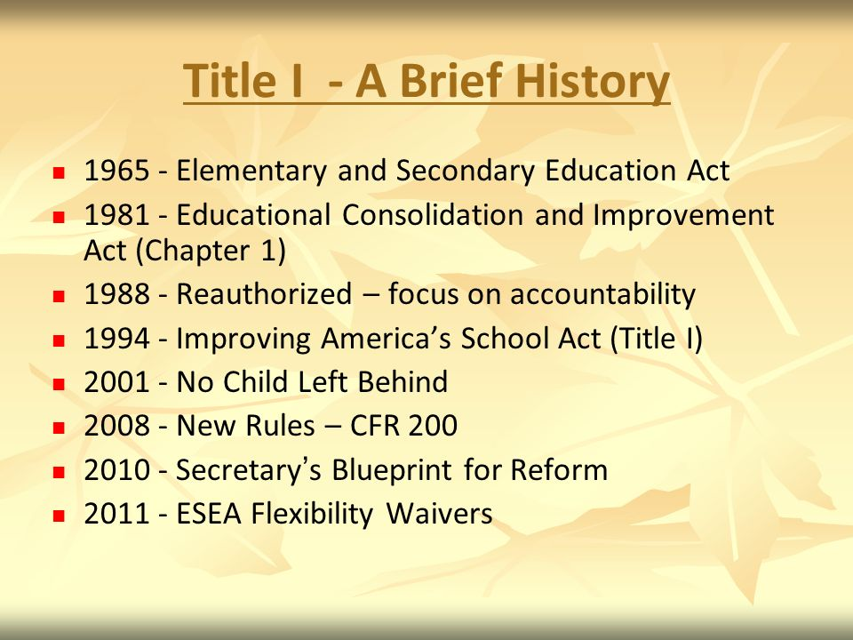 Title I - A Brief History