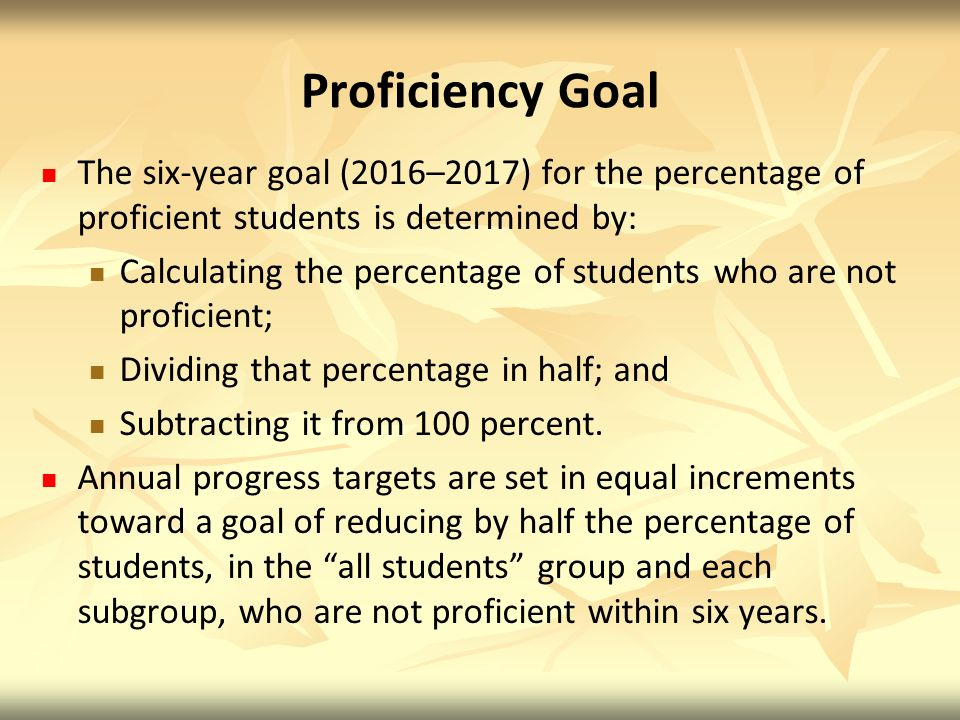 Proficiency Goal The six-year goal (2016–2017) for the percentage of proficient students is determined by: