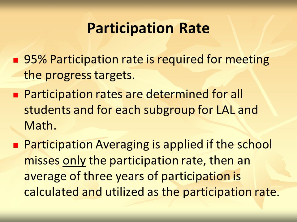 Participation Rate 95% Participation rate is required for meeting the progress targets.