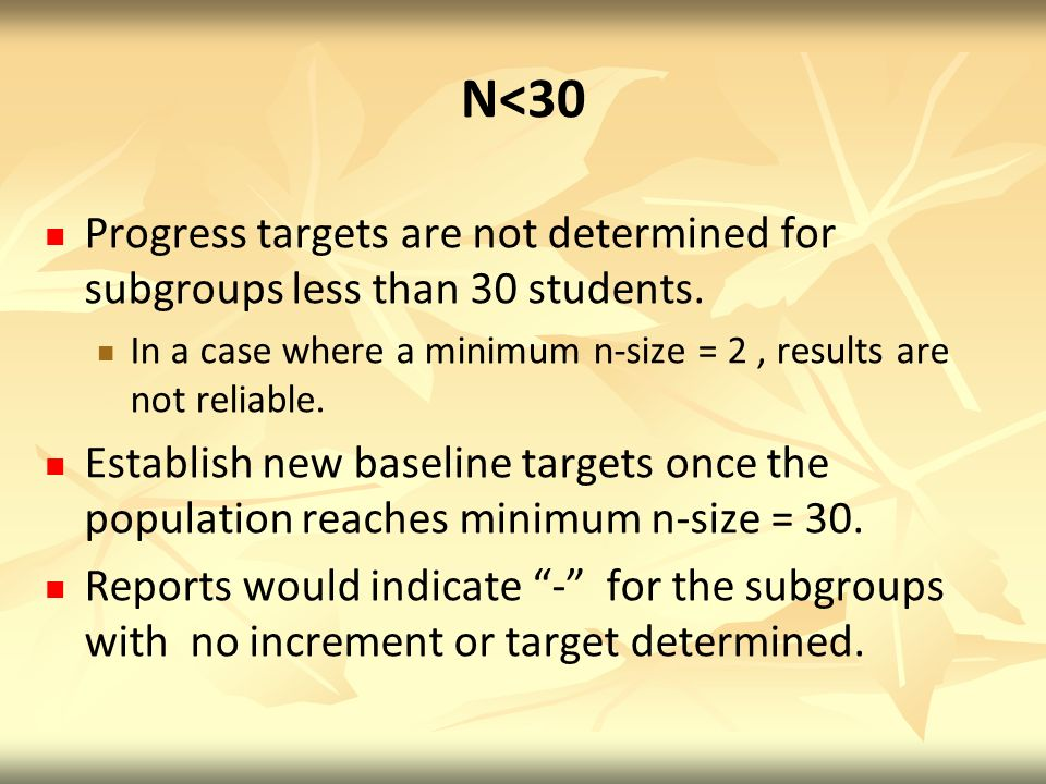 N<30 Progress targets are not determined for subgroups less than 30 students. In a case where a minimum n-size = 2 , results are not reliable.