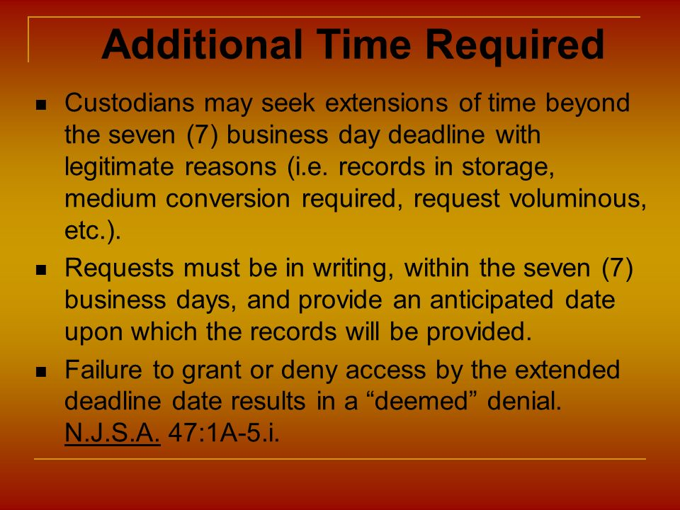 Additional Time Required