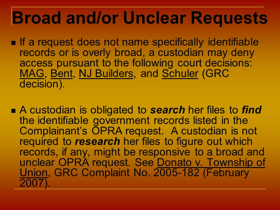 Broad and/or Unclear Requests