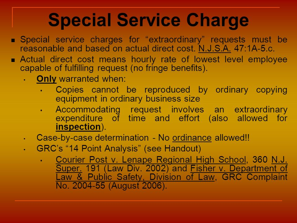 Special Service Charge