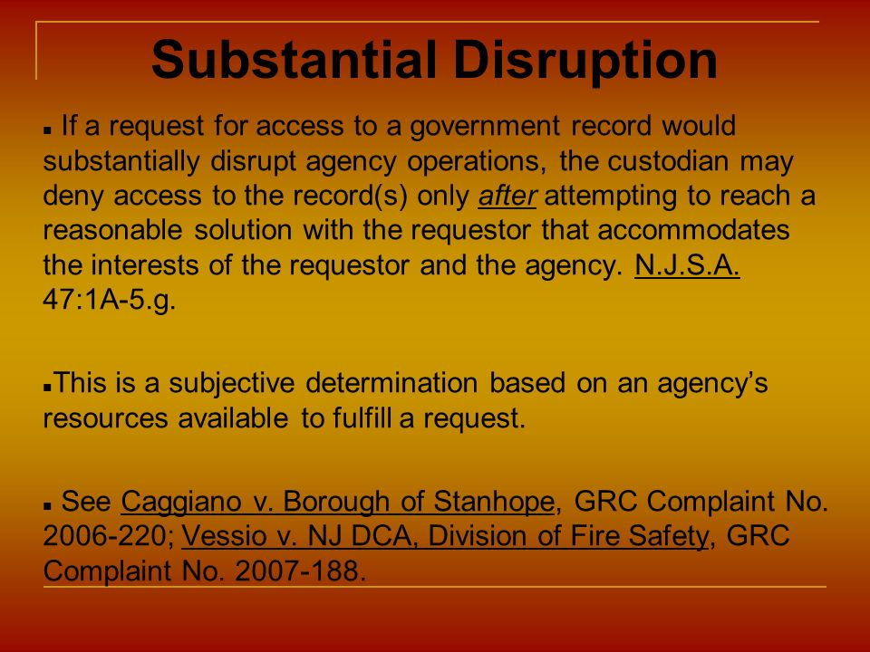Substantial Disruption