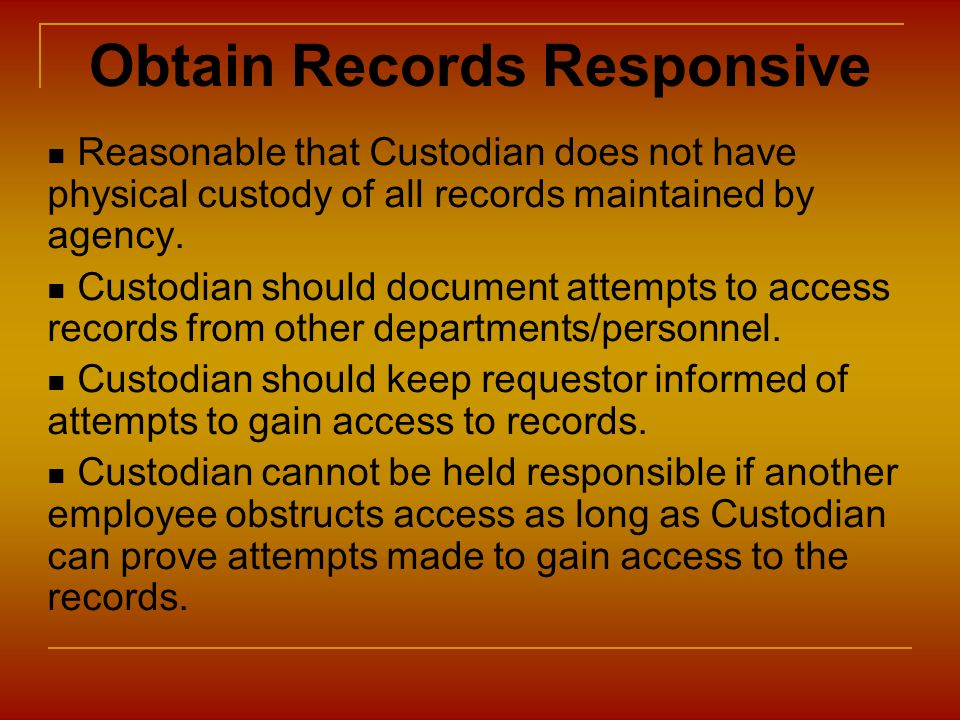 Obtain Records Responsive