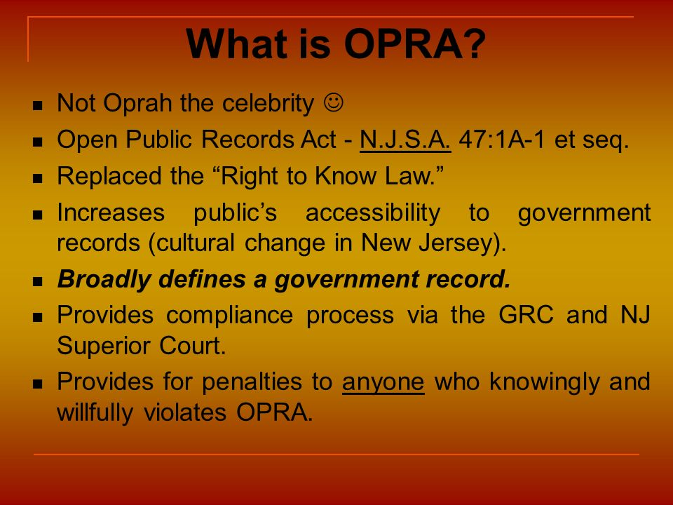 What is OPRA Not Oprah the celebrity 
