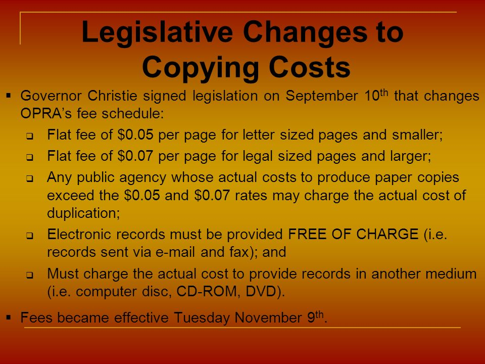 Legislative Changes to Copying Costs