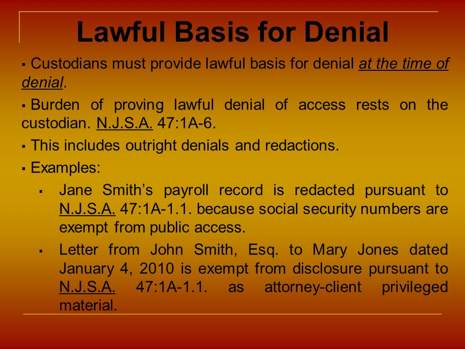 Lawful Basis for Denial