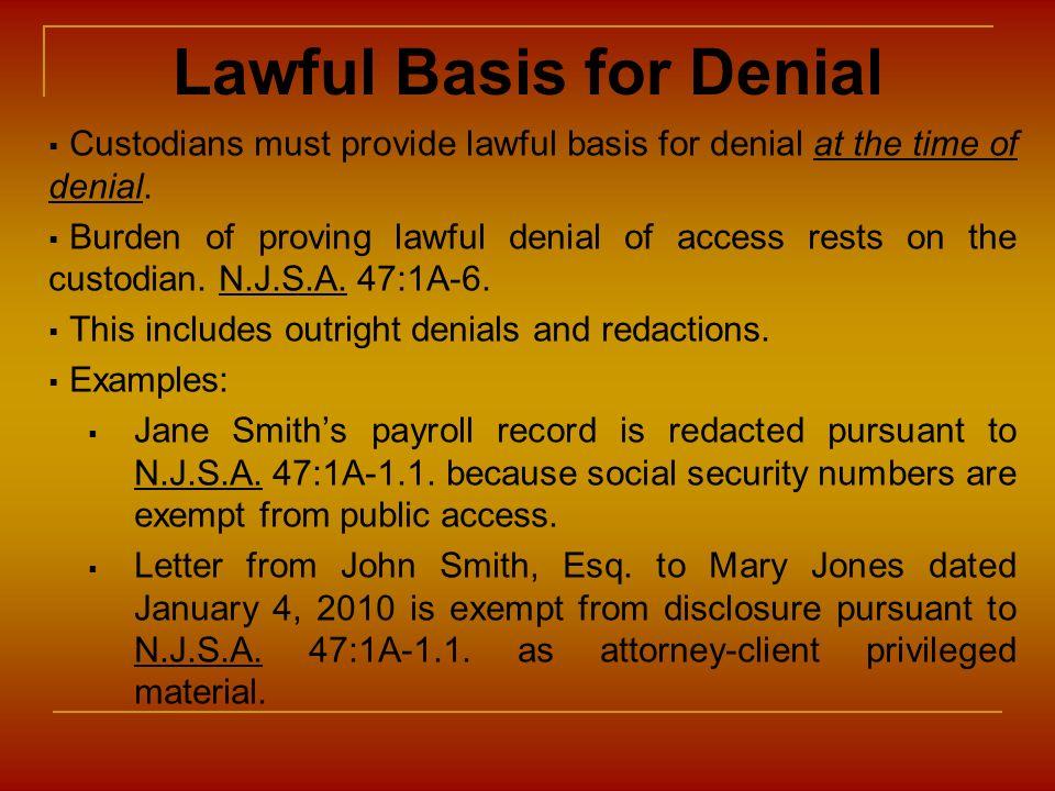 Lawful Basis for Denial