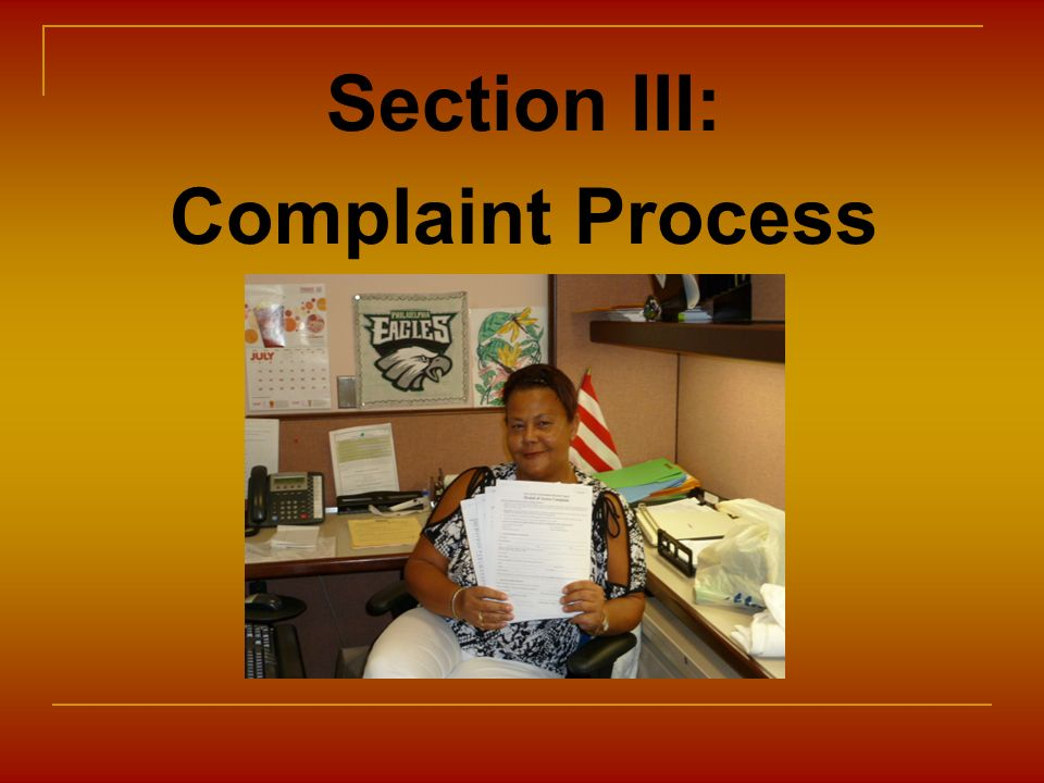Section III: Complaint Process